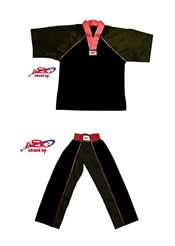 BU-013 - Stock Design Uniform/All Black with Red Trims
