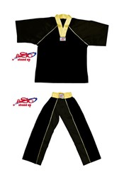 BU-014 Stock Design Uniform/All Black with Gold Trims